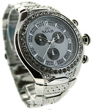 Silver White Dial Diamonte Luxury Men's Fashion Watch Celebrity Style Mab London