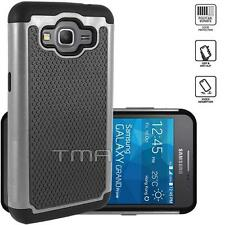 Samsung Galaxy Grand Prime SM-G530W G530H Rugged Dual Layer Hybrid Case - Gray