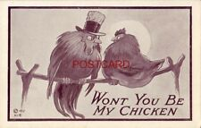 WON'T YOU BE MY CHICKEN cpyrt 1911 rooster and hen on perch