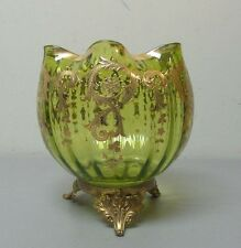 UNUSUAL ANTIQUE MOSER ART GLASS ENAMEL DECORATED LARGE ROSE BOWL, ORMOLU BASE