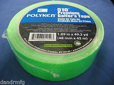 "NEW POLYKEN 510 PREMIUM GAFFERS TAPE NEON GREEN 1.89""x49.2yd MATTE FINISH CLOTH"