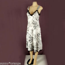 KOMAROV Dress size L Crinkle Pleated Satin Black Lace Trim  A Line gray floral