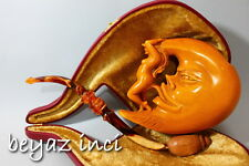 MOON AND LADY COLLECTIBLE MEERSCHAUM SMOKING PIPE PFEIFE PIPA BY KENAN