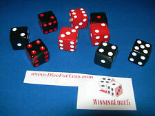 NEW 6 ASST OPAQUE DICE 16mm BLACK-RED, BLACK-WHITE AND RED-WHITE 2 OF EACH COLOR