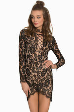 Abito a cono ricamato Scollo trasparente nudo Spacco Lace You up Bodycon Dress