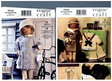 "VOGUE 7514 & 7513 PATTERNS Doll 1930s Clothes Coat Hat Dress 18"" American Girl"