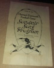1922 Harvard Dartmouth Football Game Song Program Antique Early 1920's Old Early
