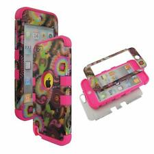 For Apple ipod Touch 5 Hybrid PinkStrip Multi Vintage Hard Soft Cover Case