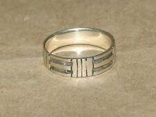 Vintage 70s Modernist Sterling Silver Etched Geometric Band Ring 3.8 gr sz 10