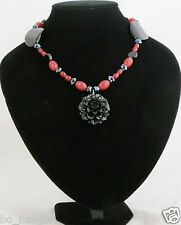 HANDMADE BLACK OBSIDIAN AND RUBY COLOUR JADE GEMSTONE SEMI PRECIOUS NECKLACE