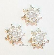 4x Bright Sterling Silver Bead flower Cap 4mm x 8mm