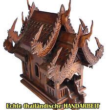 DAS ORIGINAL-Teak braunes Geisterhaus,durch MÖNCHE GEWEIHT,Holz Geisterhaus,THAI