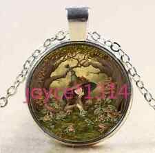 Frog and Witch Cabochon Tibetan silver Glass Chain Pendant Necklace@XP-2628