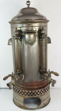 """Antique Nickel Plated Copper Commercial Coffee Urn 30"""" Tall Steampunk"""