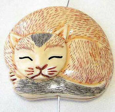 COZY KITTY CAT Carved WaterBuffalo BONE BUTTON 9700