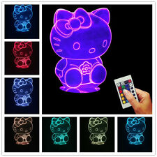 A Young Girl's Mood ! 3D Hello Kitty USB Color Changing Lamp LED Bulbing Light
