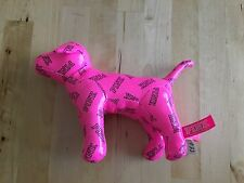 Victoria's Secret Pink Stuffed Dog Bright Vinyl Look Black Print Shiny Small