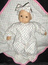 """3 pc Rosebud Sleeper Headband Blanket 15"""" Doll Clothes Made To Fit Bitty Baby"""