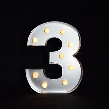 Marquee Light Number '3' LED Metal Sign (10 Inch, Battery Operated)