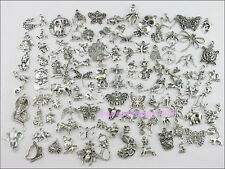 100Pcs Mixed Lots of Tibetan Silver Tone Animals Charms Pendants