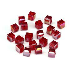 20pcs deep red ab 6mm Faceted Square Cube Cut glass crystal Spacer beads