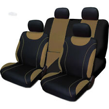 New Sleek Black and Tan Flat Cloth Seat Covers Set For Nissan