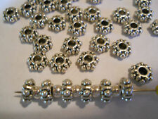 100 SILVER PLATED 7m FLOWER RONDELLE SPACER BEADS BARS BRACELET CHARMS BRACELET