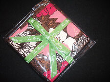 Vera Bradley~MOCHA ROUGE~4 PK FABRIC COCKTAIL PARTY NAPKINS- CRAFTS, QUILTS FUN