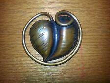 Vintage Handmade Signed Francisco Rebajes Copper Leaf Brooch Pin