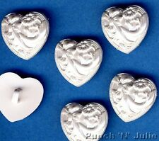 FANCY PEARL WHITE WEDDING HEARTS - Bow Flower Decorative Novelty Craft Buttons