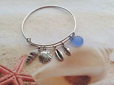 NAUTICAL ADJUSTABLE SILVER PLATED BANGLE BRACELET SEA SHELL BLUE SEAGLASS CHARM