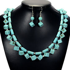 Vintage Turquoise Sterling Silver Statement Necklace & Earrings Jewellery Set UK
