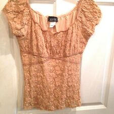 Woman's Size M Cap Sleeve Blouse Embellished Peach Color Lace Camisole Top.Sexy