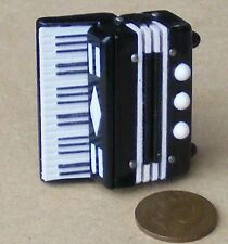 1:12th Scale Black & White Plastic Accordion Dolls House Miniature Instrument