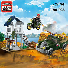 Enlighten 1708 Military Army Motorcycle Car Building Block Toy Bricks Toys