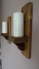 PAIR OF 37CM RUSTIC  WOOD HANDMADE SHABBY CHIC WALL SCONCE CANDLE HOLDER