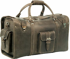 OXFORD MUD BROWN VINTAGE CRAZY HORSE LEATHER HOLDALL/ DUFFLE / CABIN BAG