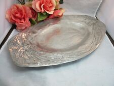 Vtg Primitive etched aluminum oval serving tray with Butterflies