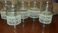 6 Rustic Wedding Table Centrepiece Jars  with ivory lace Candles Flowers