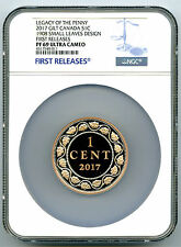 2017 1908 CANADA 2 OZ SILVER GILT NGC PF69 SMALL LEAVES LEGACY OF THE PENNY CENT