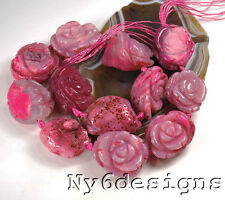 """30x30x20mm Pink Natural Agate Carved Rose Pendant Beads 15"""" (AG616)j"""