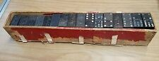 ANTIQUE VINTAGE WOODEN DOVE TAIL  BOX FILLED WITH 80 OLD LION  DOMINOS BLACK