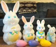 "34"" EMPIRE BUNNY RABBITS EGGS BLOW MOLD EASTER LIGHT UP YARD DECOR LAWN ART BOY"