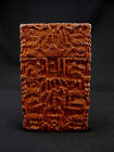 Nice Antique Chinese Wood Card Case Carved Canton