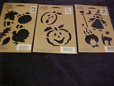 Halloween & Fall 3 Stencils Pumpkins Witches Cat Hat  By Plaid All Night Media