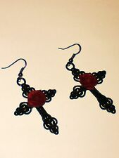 Large Gothic Earrings *Black cross*red rose*pagan*steampunk*emo*Wiccan*