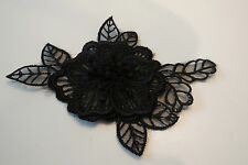 Small doubled layered black floral lace applique /decorative lace motif11x6.5cm