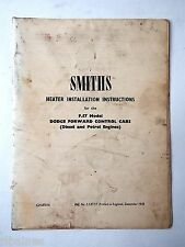 Smiths Heater Instructions F57 Dodge Forward Control Cabs 1959