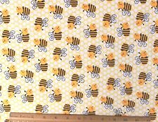 """SNUGGLE FLANNEL* BUMBLE/HONEY BEES & HONEYCOMB*  Cotton Fabric* NEW * 1 Yd 28"""""""