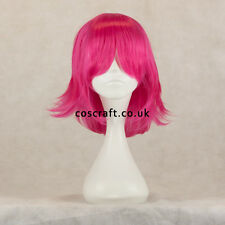 Medium flick cosplay costume wig in fuchsia hot pink, UK SELLER, Ash style